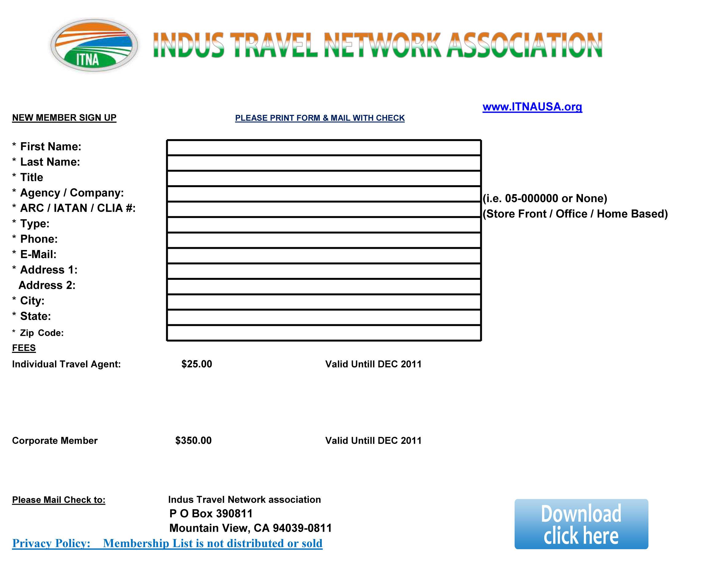 MEMBERSHIP - INDUS TRAVEL NETWORK ASSOCIATION